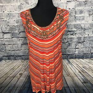 Kenar Fall Sleeveless Long Embellished Top Size XL